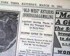 NEVADA GAMBLING Legalized Reno Gaming & Las Vegas on the Horizon 1931 Newspaper