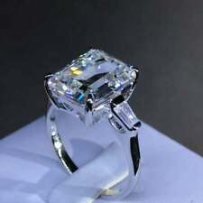 4Ct Emerald Cut D/VVS1 Diamond Solitaire Engagement Ring 14K White Gold Finish