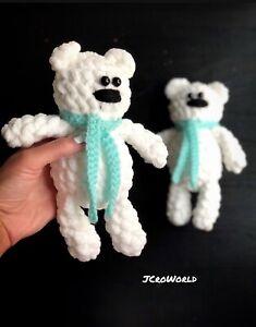 white crochet bear, Twin Bears, Removable Scarfs, Gift, Crochet Toy, Handmade