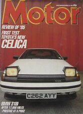 Motor magazine 28/12/1985 featuring Toyota Celica road test, BMW Turbo, Mazda