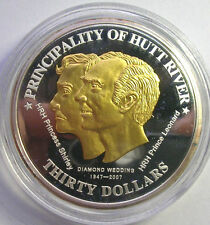 Hutt River 2007 Wedding 30 Dollars Silver+Gold Plated Coin,Proof