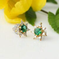 14 Karat Gold Ohrstecker Ohrringe aus natürlichem Smaragd und weißem Diamant