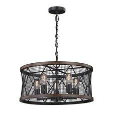 Black and Replica Wood 5 Light Pendant Light