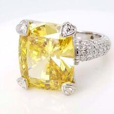 Judith Ripka 18k 750 White Gold Lola Canary Crystal Pave Diamonds Ring Size 6.5