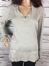J Crew Scoop Neck Sweater Medium 100% Linen Lovely Pearl Grey Thin Knit Top