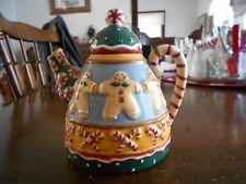 "Gingerbread Men Teapot 3D Stoneware 16 oz Sakura 5 3/4"" H White Red Green Blue !"