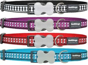 Red Dingo REFLECTIVE Bones Dog or Puppy Collar   High Visibility   Four Colours