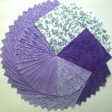"""50 - 4"""" Purple 100% Cotton Quilt Fabric Squares Quilt Blocks Quilting 319"""