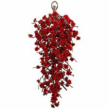 "Nearly Natural 4883 Plum Blossom Teardrop Wreath- 28"" NEW"