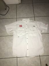 Columbia PFG Nebraska Huskers Mens Shirt Sz Large Used White