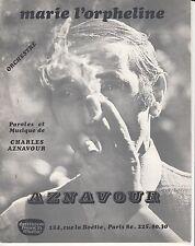 "PARTITION CHARLES AZNAVOUR  ""MARIE L'HORPHELINE"""