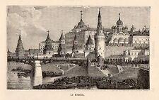 MOSCOU MOSKVA KREMLIN IMAGE 1882 OLD PRINT