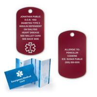 Red Anodized Aluminum Medical Alert ID Dog Tag. Custom Engraved and Chain!