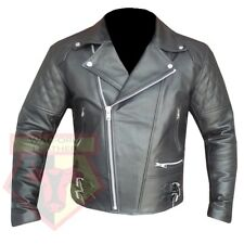 Custom 4588 Black Dashing Hand Made Cowhide a Grade Leather Biker Jacket Coat