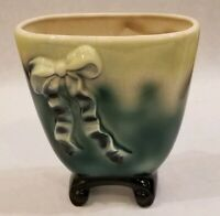 """Vintage Chartreuse Faded to Green on Short Black Pedestal 6 1/2"""" Vase With Bows"""