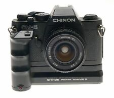 CHINON CM-5 RETRO CAMERA TOKINA EL 28mm LENS 1:2.8 MOTOR WINDER S PW545 UNTESTED
