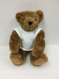 "Vermont Teddy Bear Full Jointed 15"" White Tee Mom Tattoo Classic Stuffed Animal"
