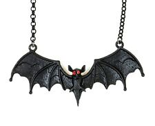Bat Red Stone Eye Gothic Steampunk Necklace Pendant Punk Goth Cyber Rave