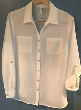 Ny Collection SZ L Petite Women's White Sheer Career Dress Shirt Button Pocket