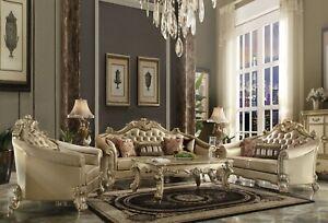 Acme Furniture Vendome Bold Gold Patina Sofa and Loveseat Living Room Set