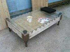 Industrial chic Vintage French Rifle Gun pallet oak and glass coffee table