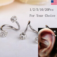 20/10x Rhinestone Twist Ear Helix Cartilage Earring Stud Steel Body Piercing Lot