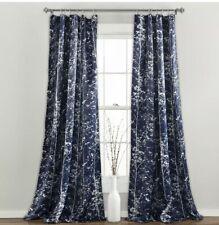 """Forest Curtains - Tree Branch Leaf Darkening Window Panel Set 84"""" x 52"""" Navy"""