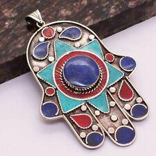 "Pendant Jewelry 4"" Ap 31264 Tibetan Turquoise Coral Ethnic Handmade"