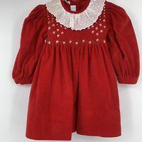 Vintage Vive La Fete Baby Girl Dress 12 Mo Red Velvet Christmas Holiday **Flaw