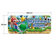 Super Mario Door Plaque - Personalised Childrens Bedroom Sign Girls Boys
