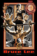 NEW BRUCE LEE CLASSIC HOLDING NUNCHUCKS HOME DECOR ART PRINT - PREMIUM POSTER