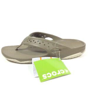 Crocs Swiftwater Deck Flip Flop Kahki Stucco Brown Sandals Mens Size 9