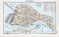 Venedig Venezia 1934 orig Stadtplan + Lexikon-Artikel mit Karte + Photos S-Marco