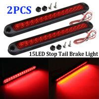 2PCS 25CM 15 LED Red Sealed Trailer Truck RV Stop Tail Rear Brake Turn Light Bar