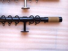 25/ 28mm Extendable Telescopic Gloss Black Leather Barrel Curtain Pole 1.5 - 3m
