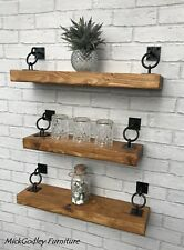 Rustic Floating Handmade Shelves Solid Wood 15cm Depth