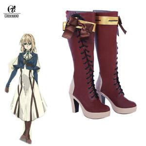 Violet Evergarden Cosplay Shoes Violet Evergarden Boots High Heel Customize Size