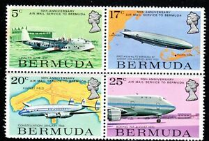 1975 Bermuda SC# 318-321 - Airmail Service to Bermuda - Block of 4 - M-NH