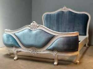 Rococo 5' King Antique White Blue Upholstered Curved Mahogany French Style Bed