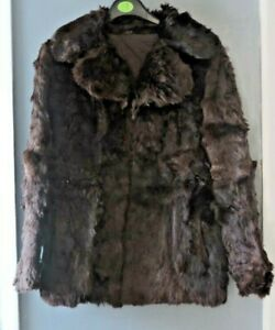 Vintage Women's Straight Cut Real Fur Jacket Short Coat Brown Size M UK 10 12