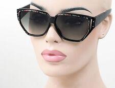 Grande Mujer Estilo Vintage Gafas De Sol Cuadradas Claro Lente Ahumada Negro 102