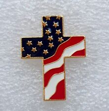 God and Country, Patriotic Cross American Flag pin, gold plate, made in the USA!