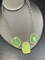 Designer Pale Green colored Lucite Gold Tone Statement necklace 16""