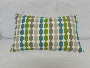 "Cushion Cover, Romo, ""Quintus"", Linen, Abstract, Green, Turquoise, Beige, Stone."