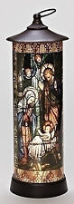 "Roman 16"" LED Holy Family Nativity Cylinder Lantern Stained Glass Style # 164094"