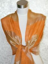 100% Georgette Silk Scarf Shawl Orange Bronze G1007