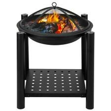 New listing Four Feet Iron Brazier Wood Burning Fire Pit for Backyard Poolside with a Shelf