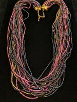 Vintage Gold Tone Black Peacock Pink Glass Bead Statement Tribal Necklace