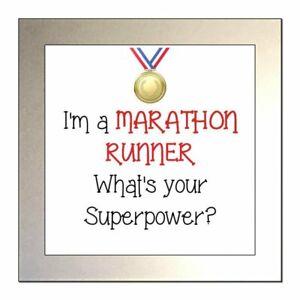 I'm a MARATHON RUNNER What's Your Superpower? Glass Drinks Coaster