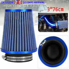 Universal Car High Flow Cold Air Filter Induction Kit Sports Mesh Cone Blue UK
